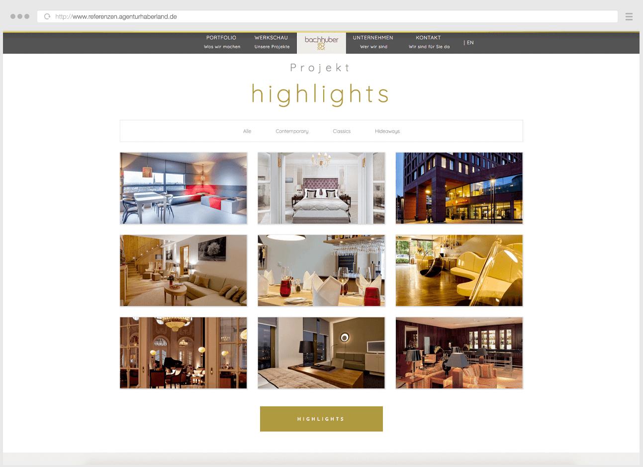 Webdesign Eggenfelden - Haberland - Portfolio Bachhuber - Startseiten - Highlights