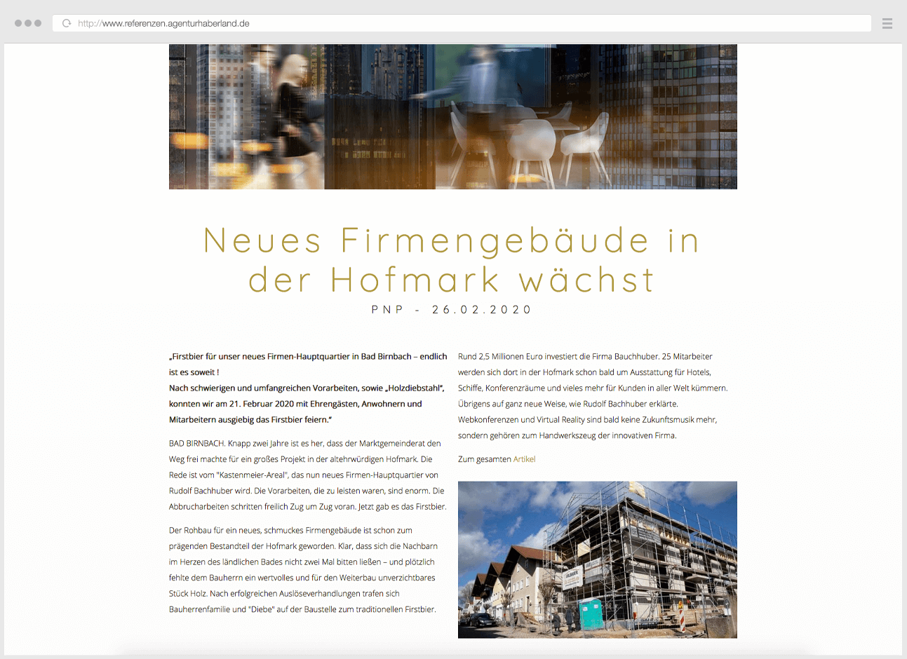 Webdesign Eggenfelden - Haberland - Portfolio Bachhuber - Newsbereich